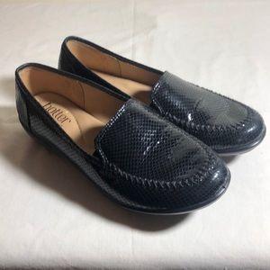 Loafers,Shiny Black, Snake Skin Pattern, US size 7